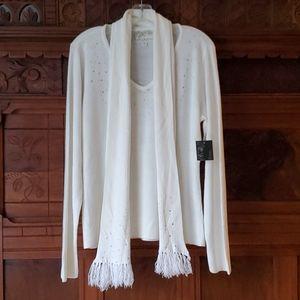 NWT Debbie Morgan White Sweater & Scarf - XL  P